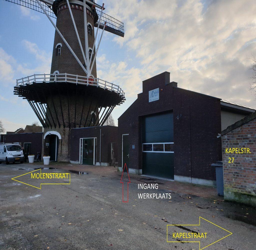 ingang werkplaats vd Coolwijktrappen